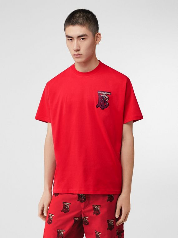 Monogram Motif Cotton Oversized T-shirt in Racing Red