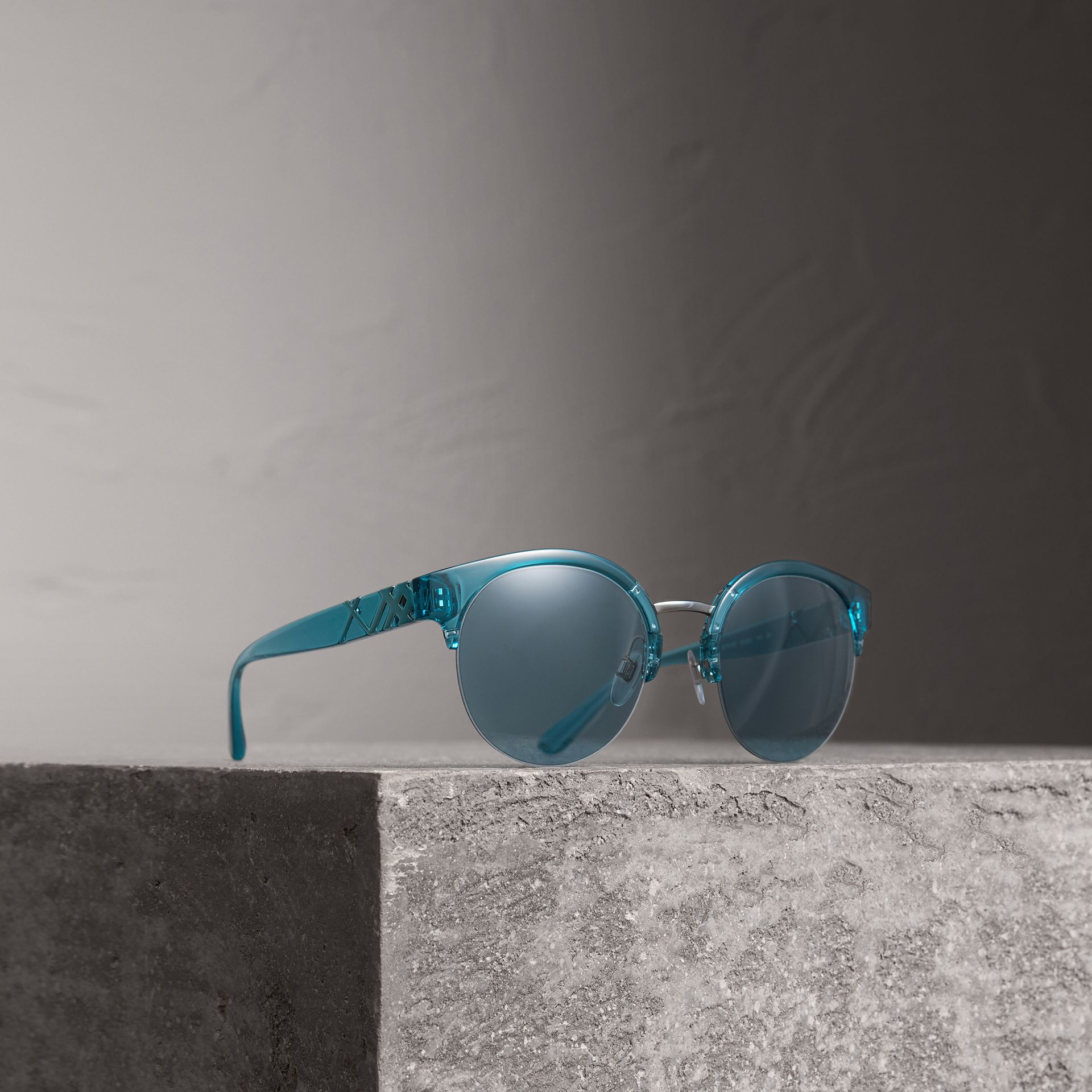 Check Detail Round Half-frame Sunglasses in Blue - Women | Burberry - gallery image 0