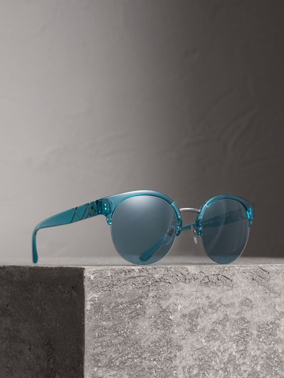 Check Detail Round Half-frame Sunglasses in Blue
