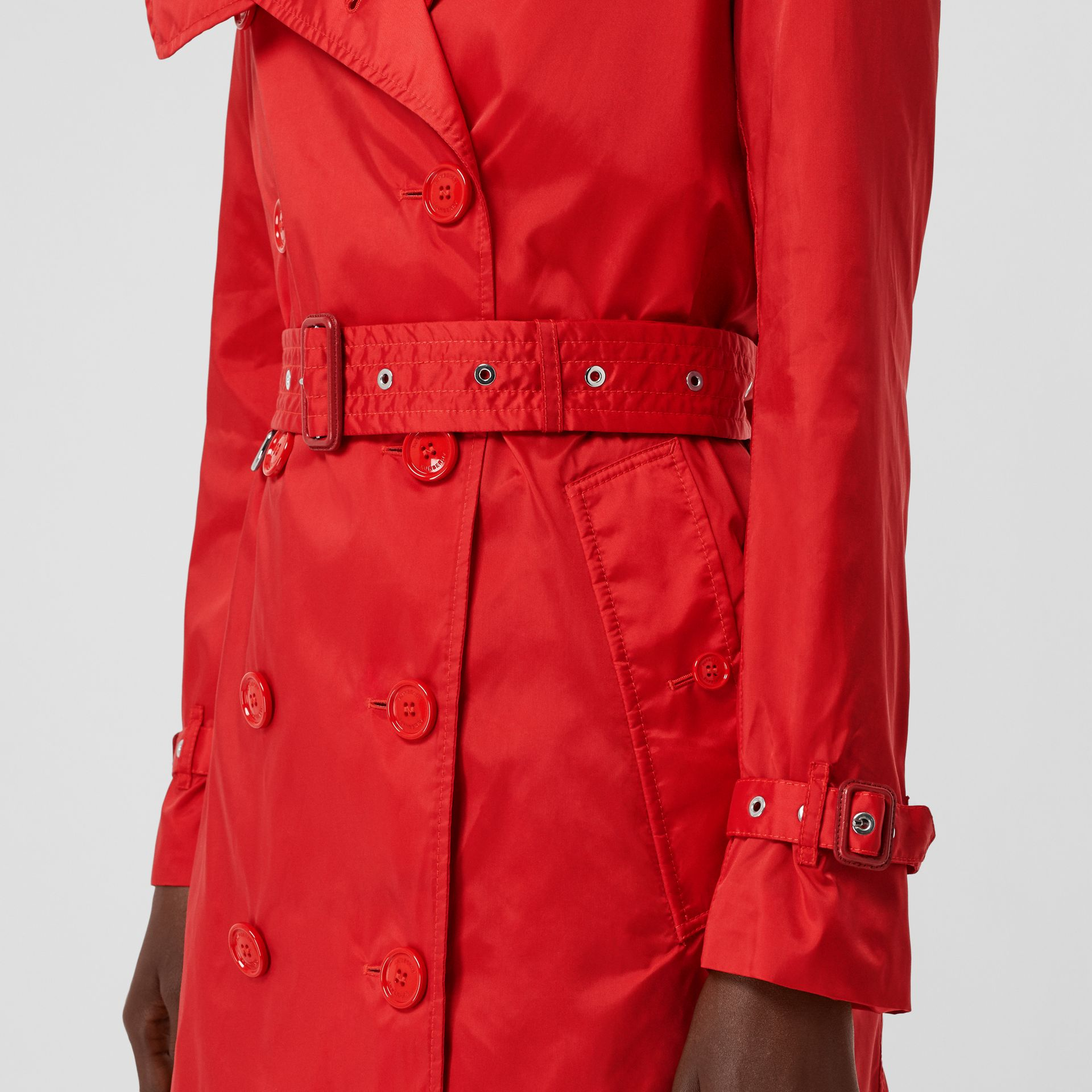 Detachable Hood ECONYL® Trench Coat in Bright Red - Women | Burberry - gallery image 4