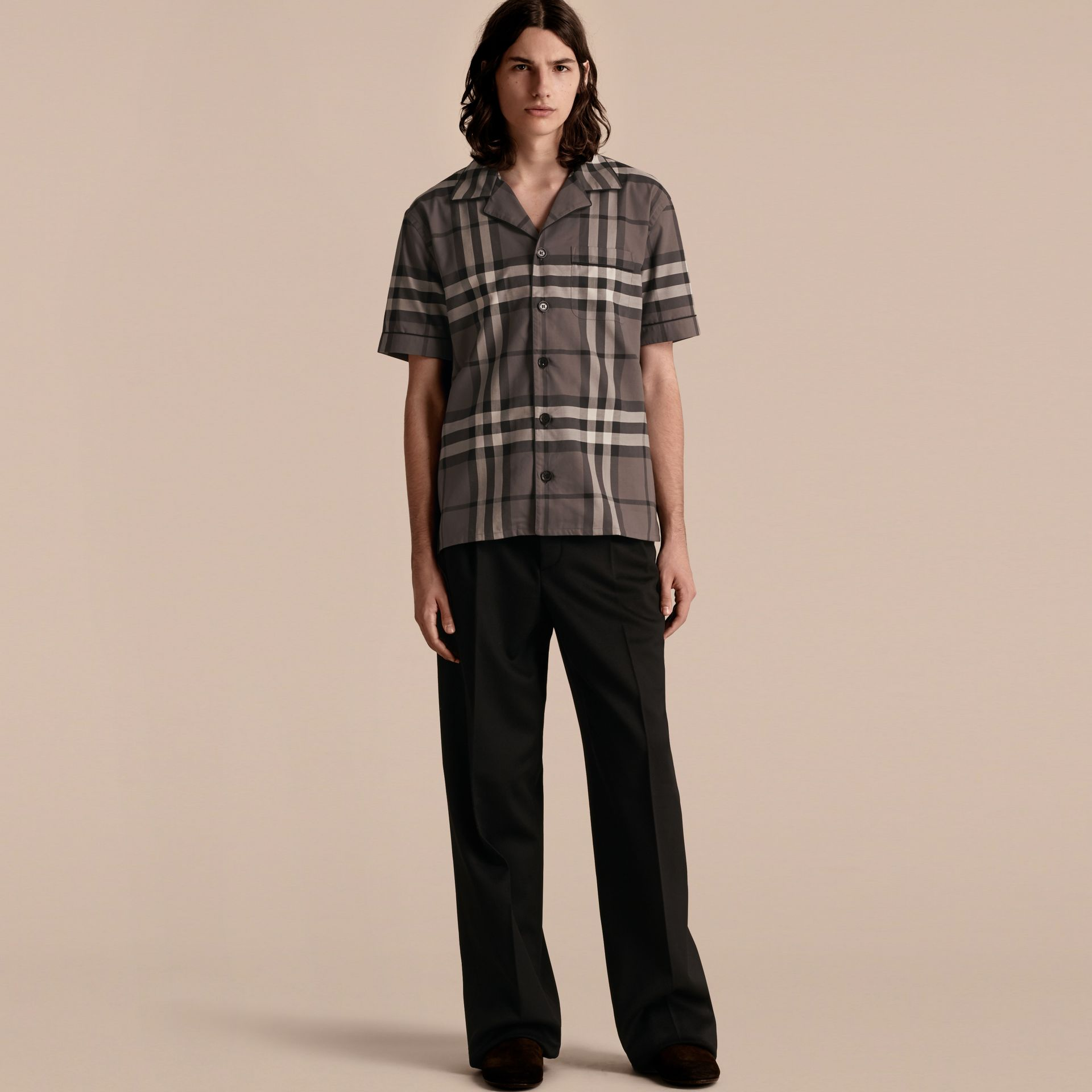 Charcoal Short-sleeved Check Cotton Pyjama-style Shirt Charcoal - gallery image 1