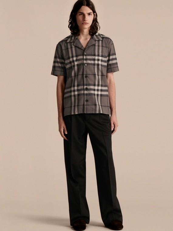 Short-sleeved Check Cotton Pyjama-style Shirt Charcoal
