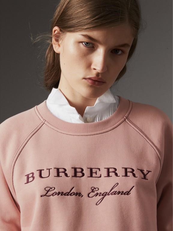Sudadera en tejido jersey de mezcla de algodón con logotipo bordado (Rosa Ceniza) - Mujer | Burberry - cell image 1