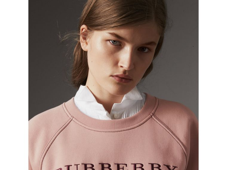 Embroidered Cotton Blend Jersey Sweatshirt in Ash Rose - Women | Burberry United Kingdom - cell image 1