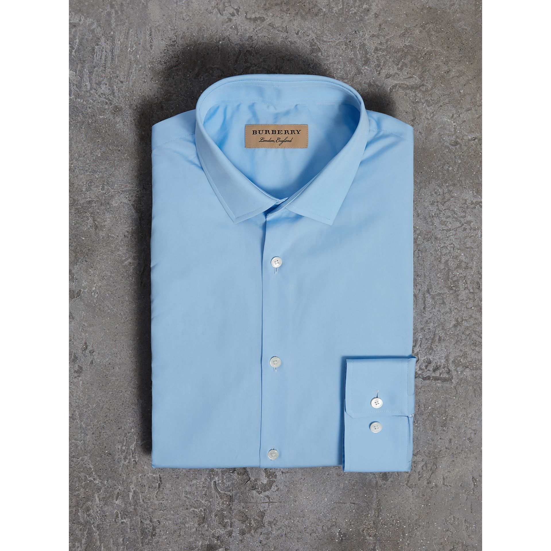 Modern Fit Cotton Poplin Shirt in City Blue - Men | Burberry - gallery image 3