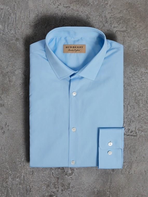 Modern Fit Cotton Poplin Shirt in City Blue - Men | Burberry - cell image 3
