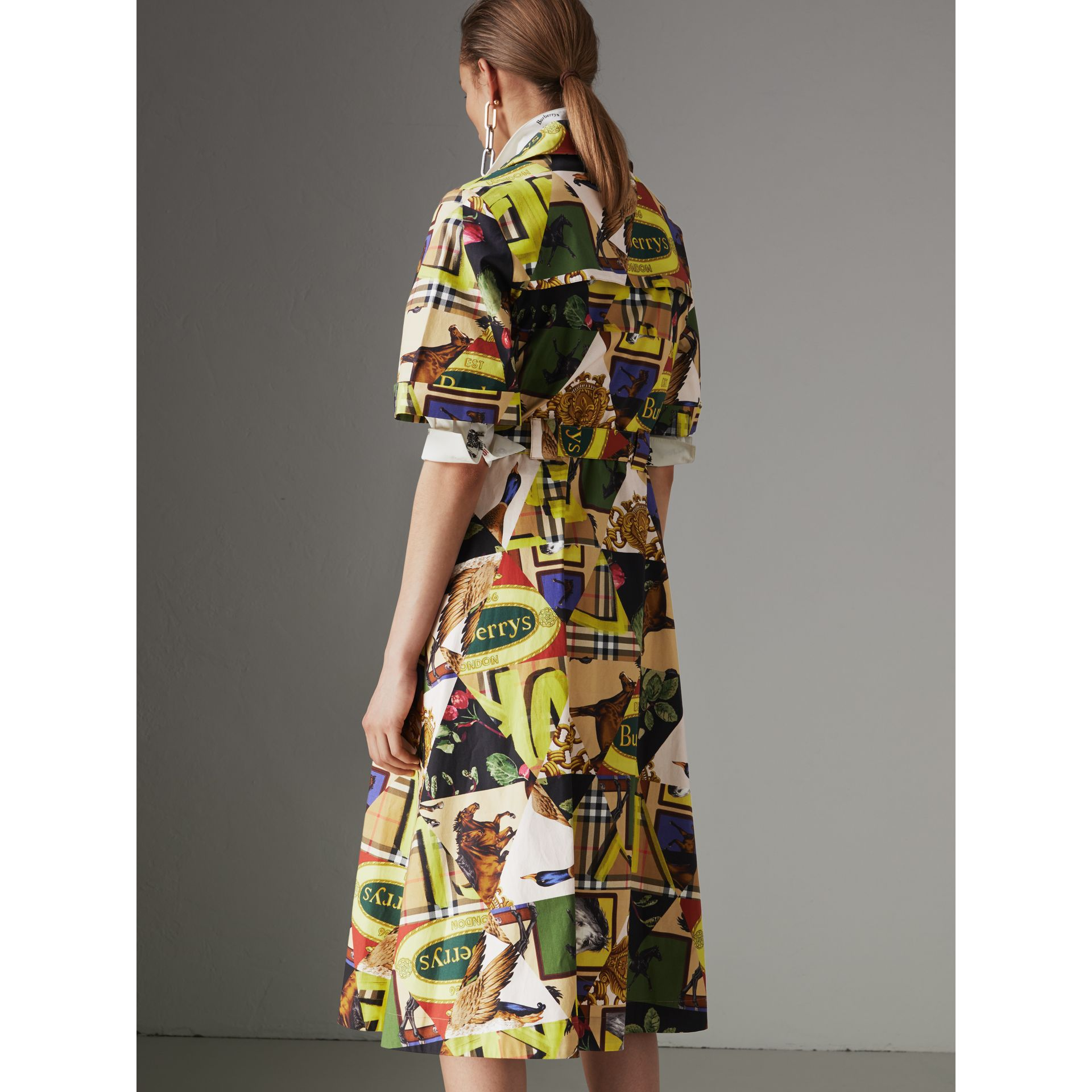 Graffitied Archive Scarf Print Shirt Dress in Bright Yellow - Women | Burberry - gallery image 2