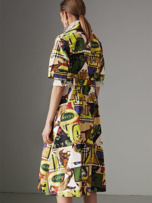 Graffitied Archive Scarf Print Shirt Dress in Bright Yellow - Women | Burberry - cell image 2