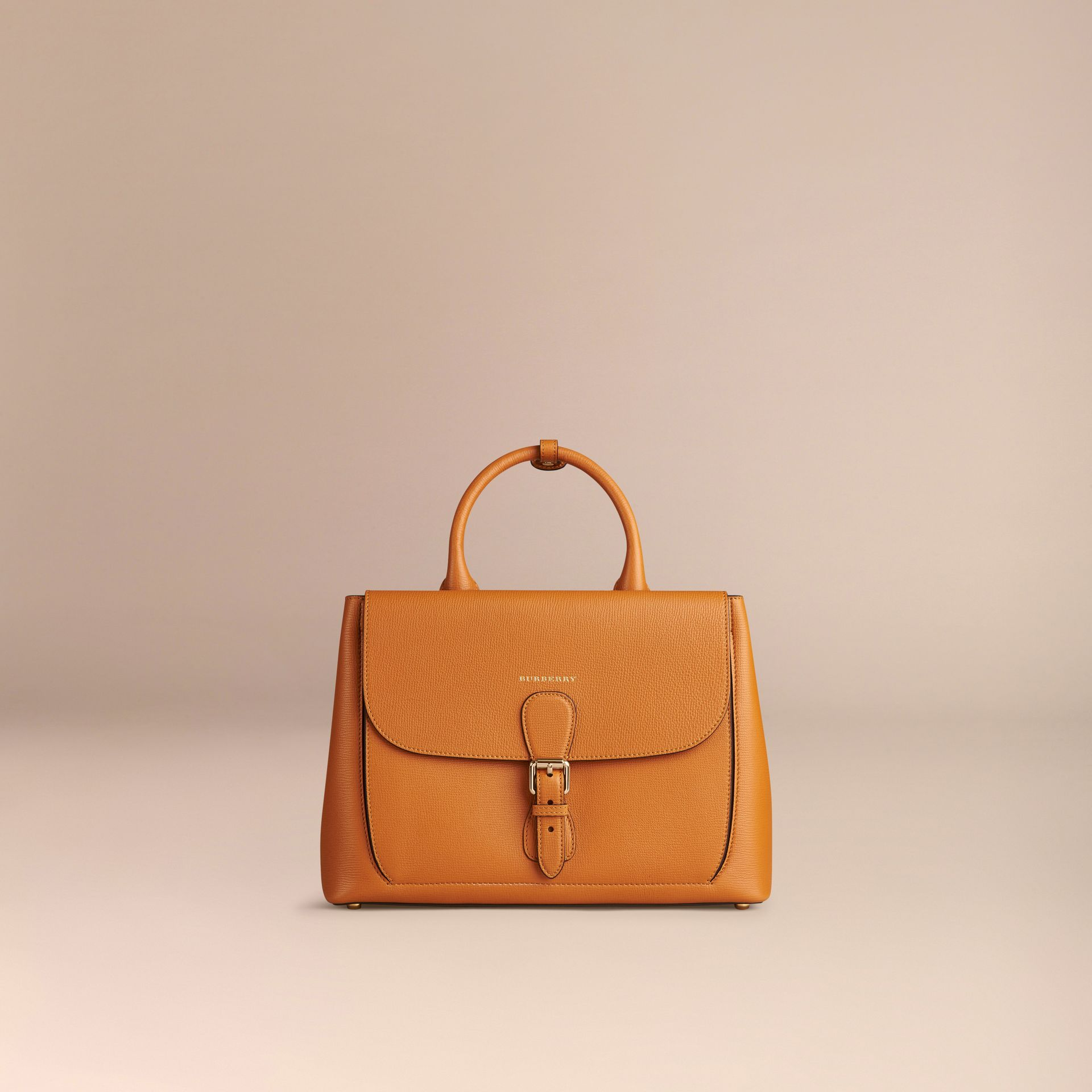 Cognac The Medium Saddle Bag in Grainy Bonded Leather Cognac - gallery image 7