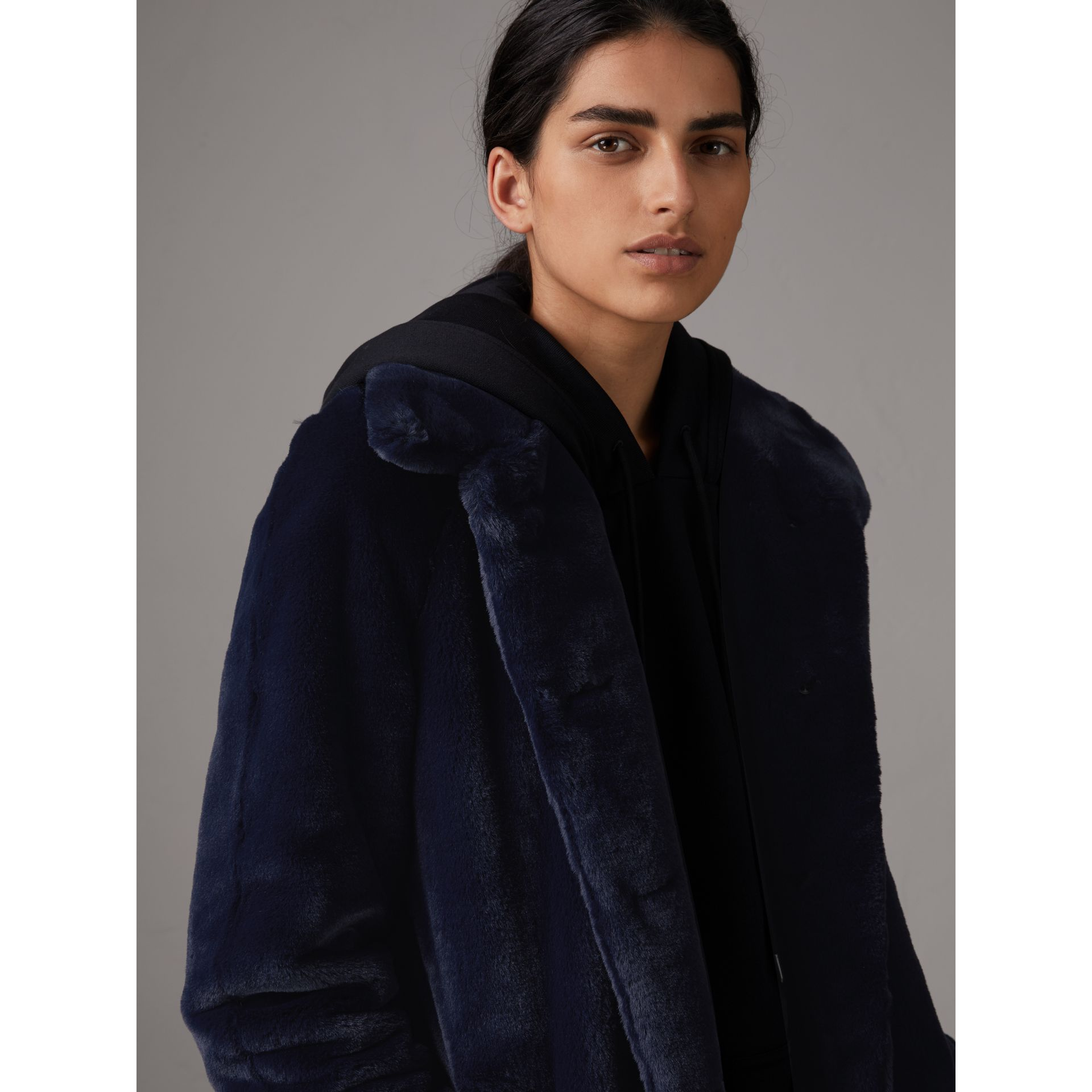 Faux Fur Single-breasted Car Coat in Navy - Women | Burberry Singapore - gallery image 4