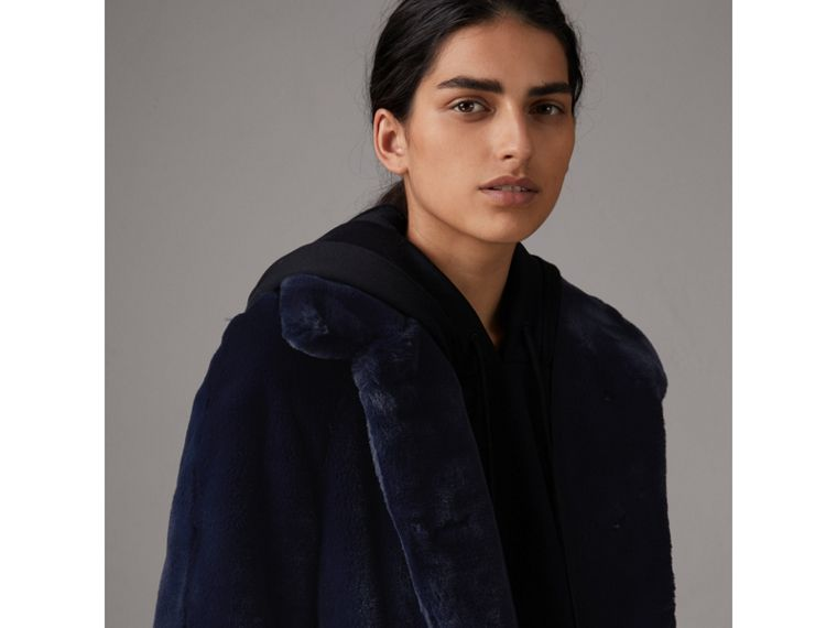 Faux Fur Single-breasted Car Coat in Navy - Women | Burberry - cell image 4