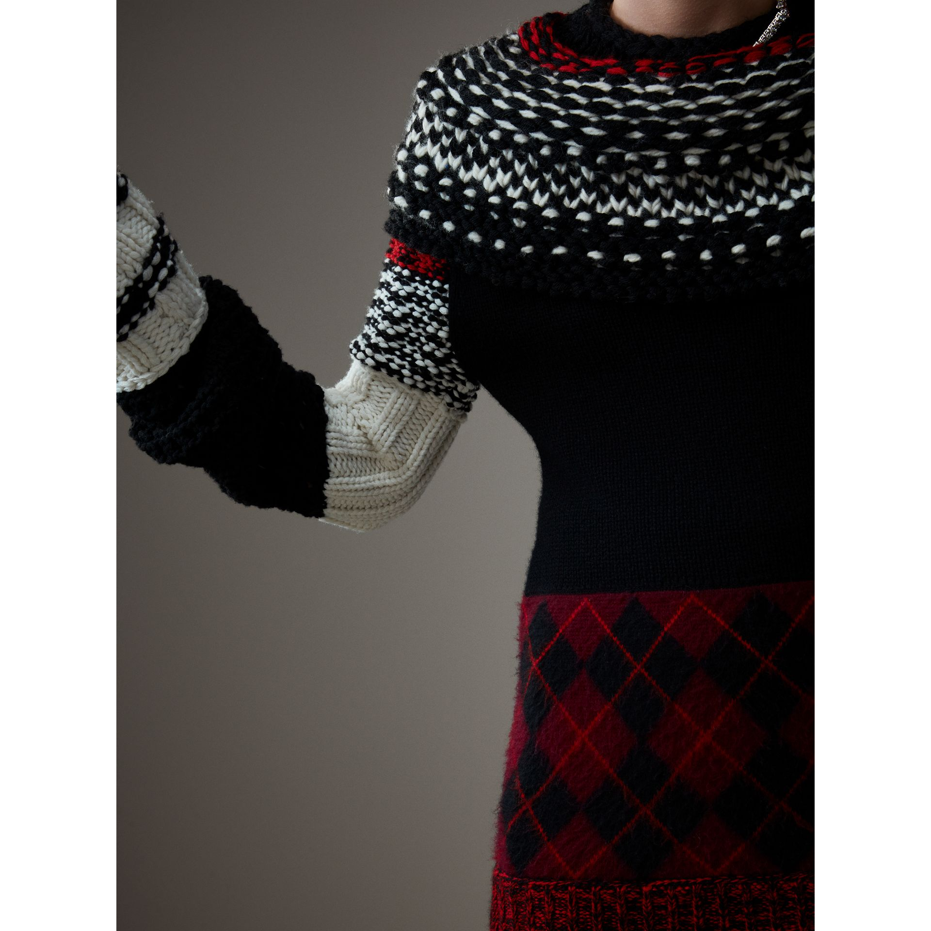 Hand-knitted Yoke Cashmere Wool Sweater in Black - Women | Burberry Hong Kong - gallery image 6