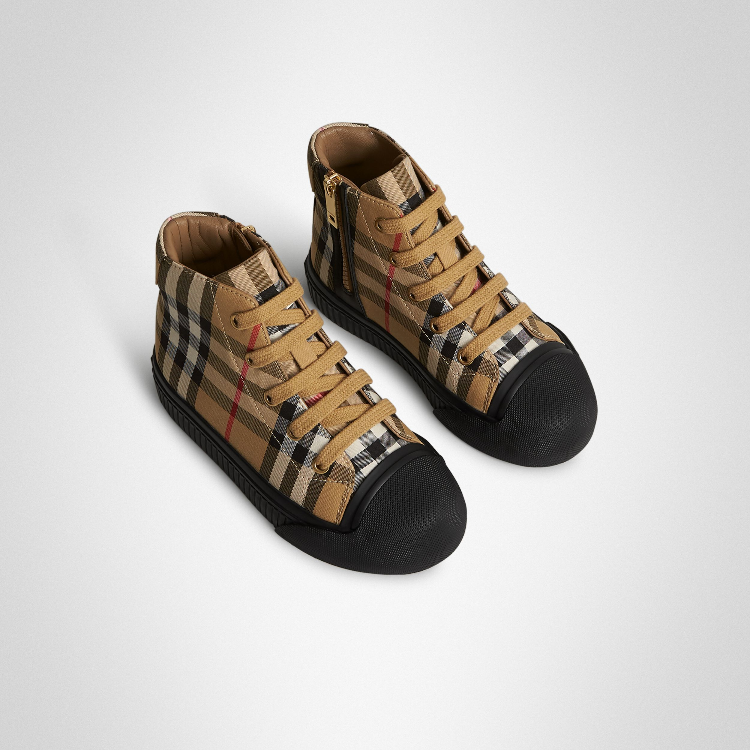 Vintage Check and Leather High-top Sneakers in Antique Yellow/black - Children | Burberry Canada - 1