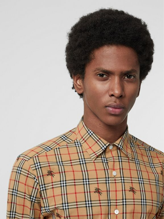 Equestrian Knight Check Cotton Shirt in Camel - Men | Burberry - cell image 1