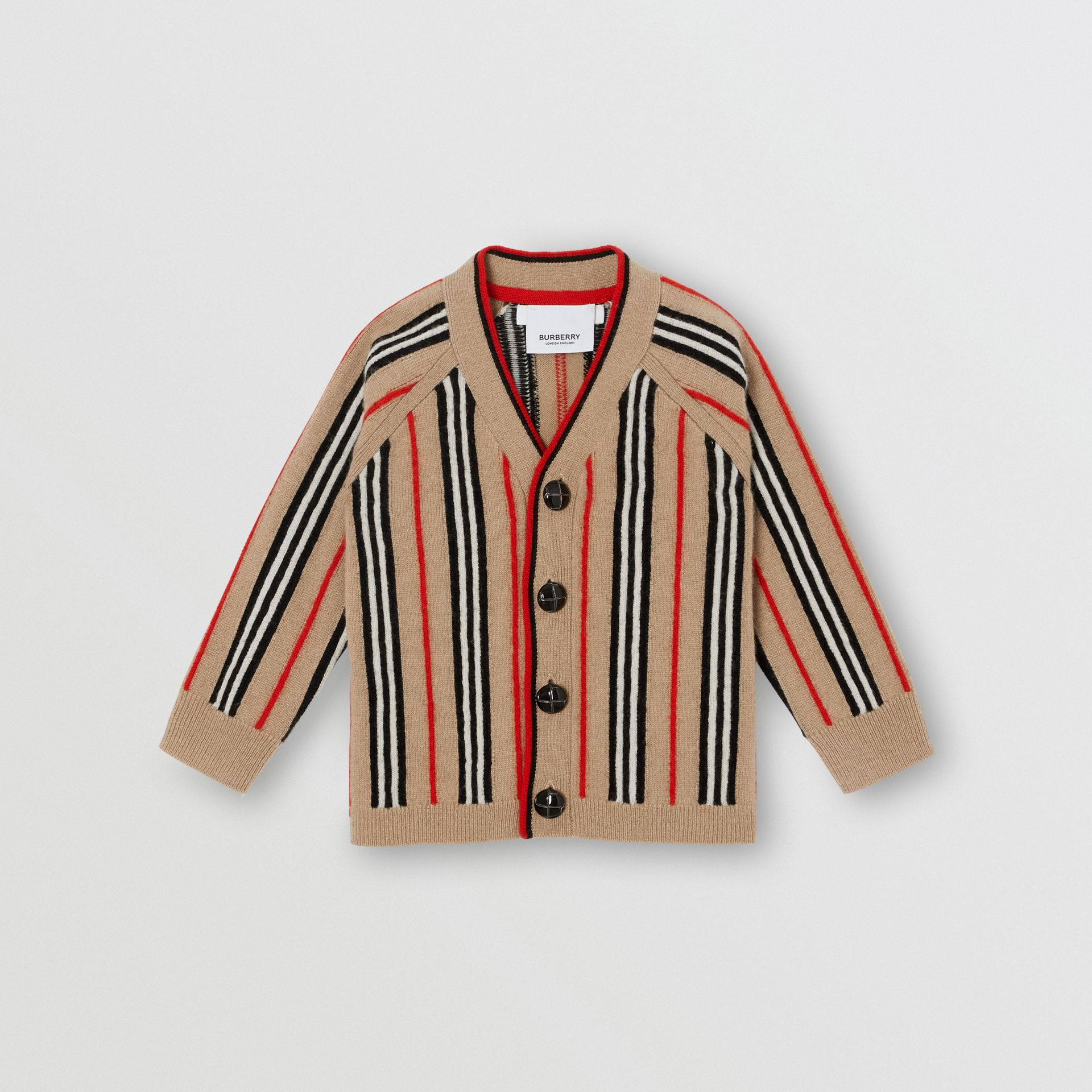 Icon Stripe Wool Cashmere Cardigan in Archive Beige - Children | Burberry United States - gallery image 0