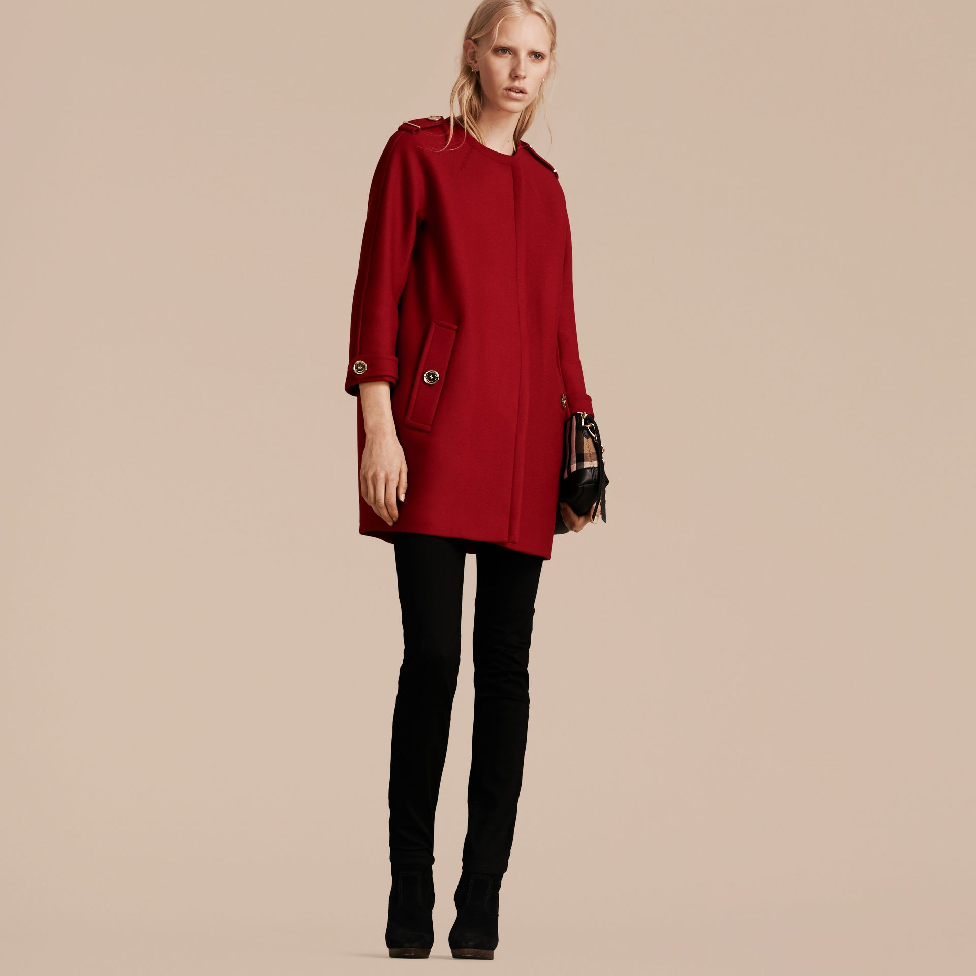 Parade red Technical Wool Cashmere Collarless Coat Parade Red - gallery image 6