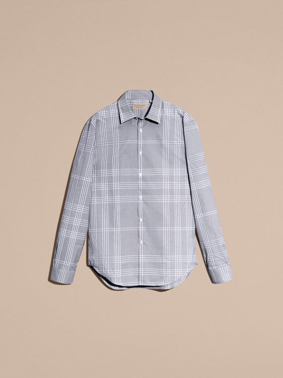 Bright navy Check Cotton Shirt Bright Navy - cell image 3