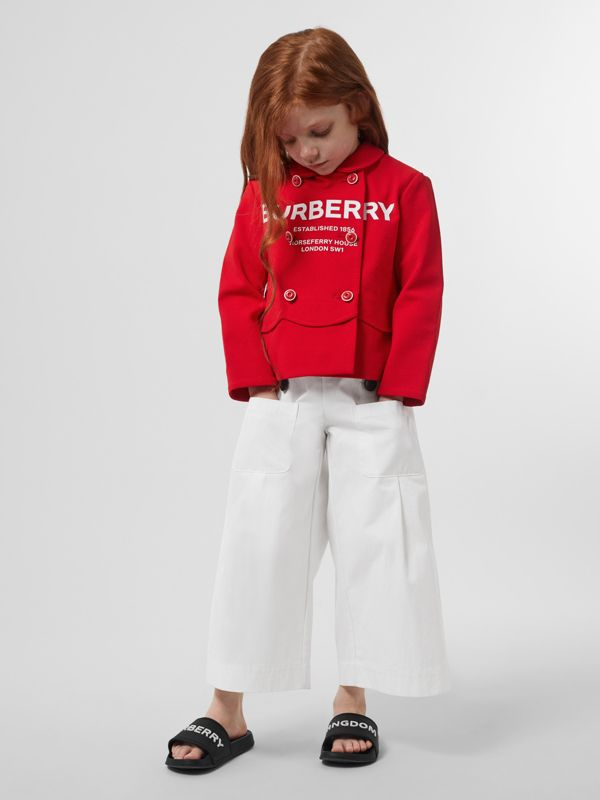 Logo Print Crepe Jersey Double-breasted Jacket in Bright Red - Girl | Burberry - cell image 2