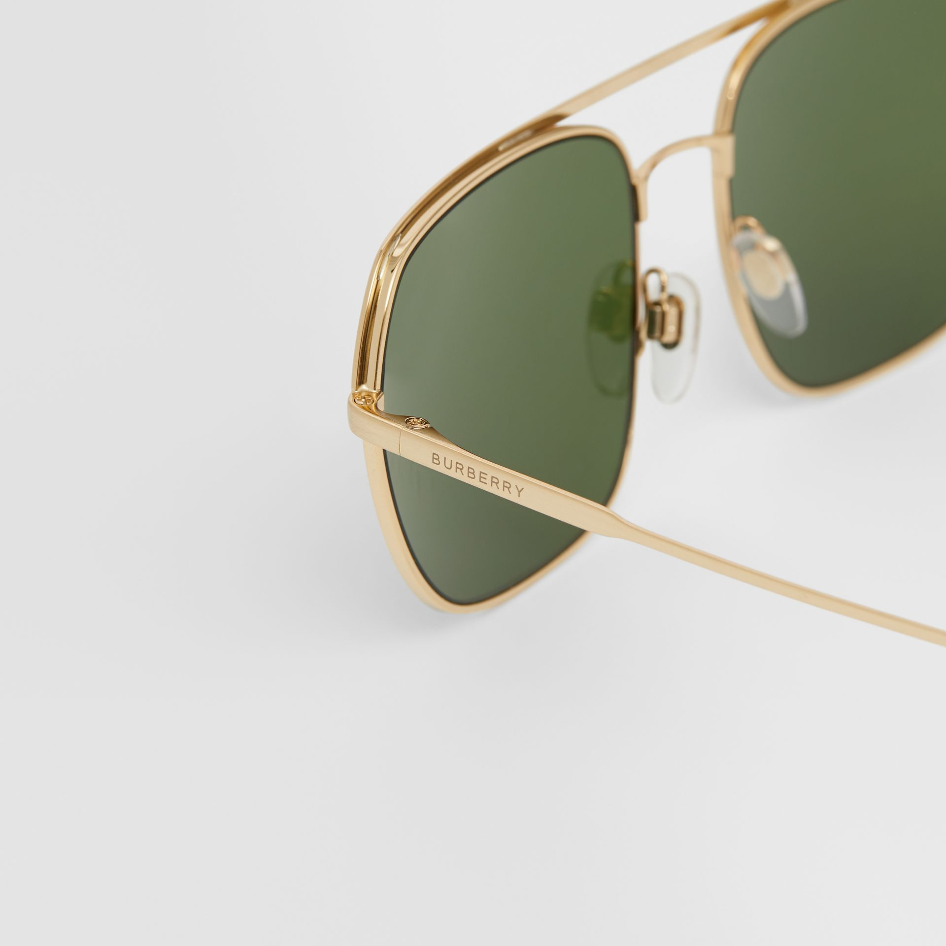 Square Pilot Sunglasses in Vintage Brushed Gold - Men | Burberry United Kingdom - gallery image 1