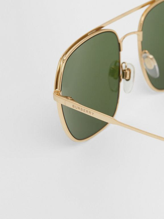 Square Pilot Sunglasses in Vintage Brushed Gold - Men | Burberry United Kingdom - cell image 1