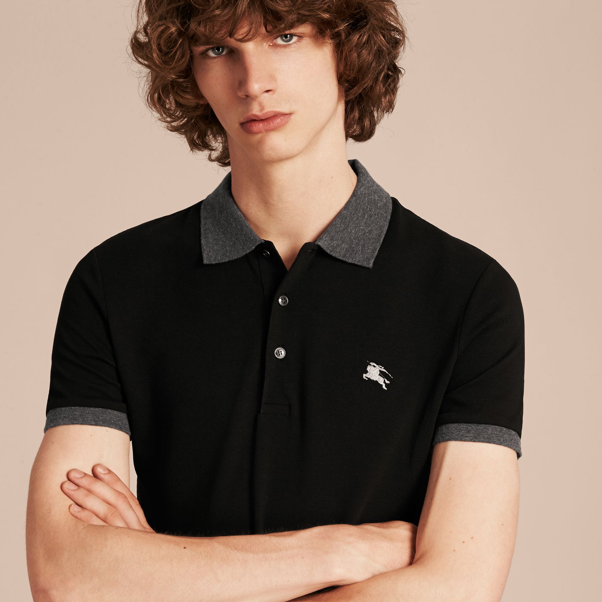 Black Contrast Colour Detail Cotton Piqué Polo Shirt Black - gallery image 5