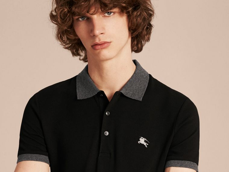 Black Contrast Colour Detail Cotton Piqué Polo Shirt Black - cell image 4