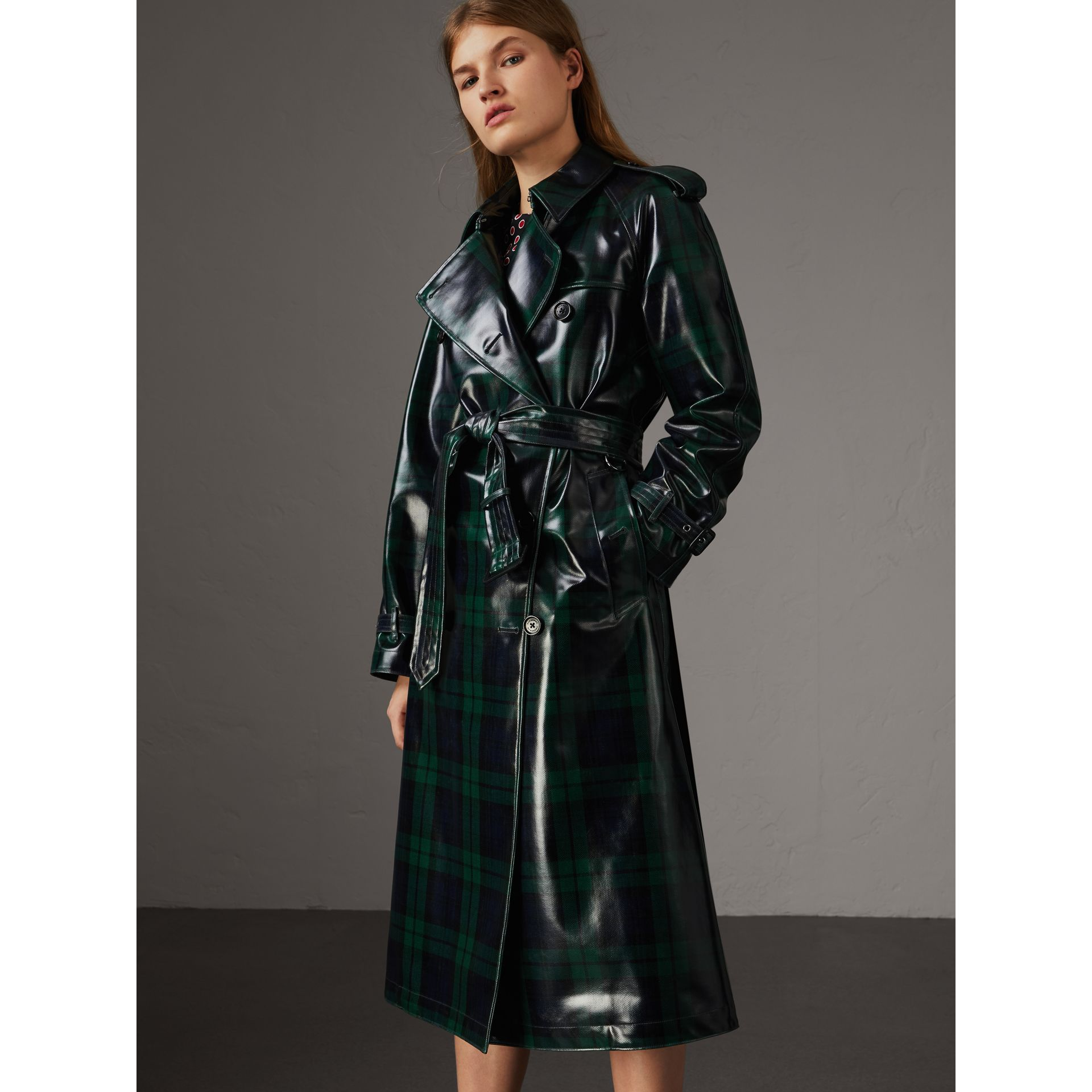 Laminated Tartan Wool Trench Coat in Navy - Women | Burberry - gallery image 6
