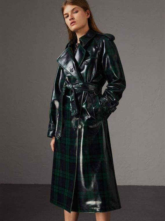 Laminated Tartan Wool Trench Coat