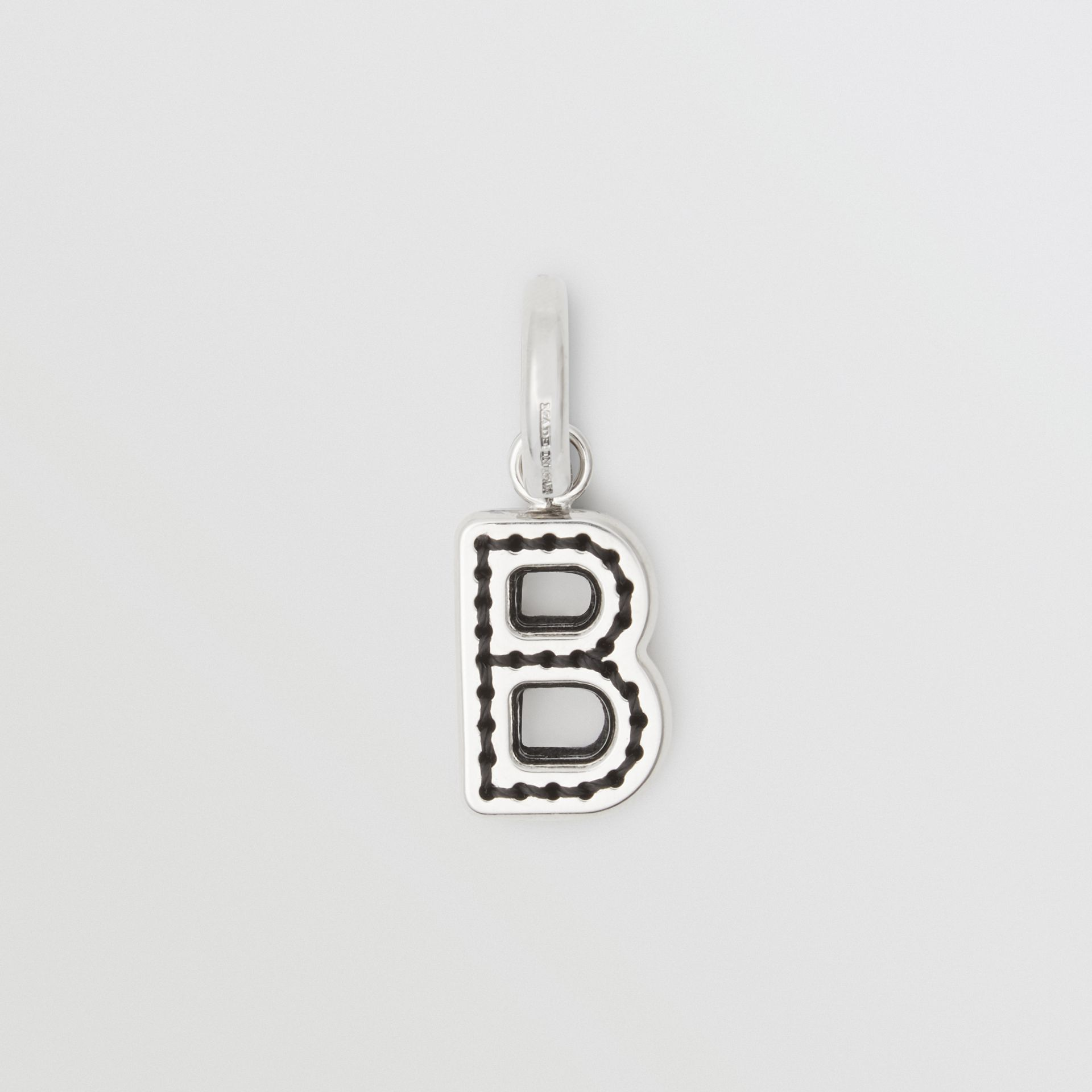 Leather-topstitched 'B' Alphabet Charm in Palladio/black | Burberry Australia - gallery image 0