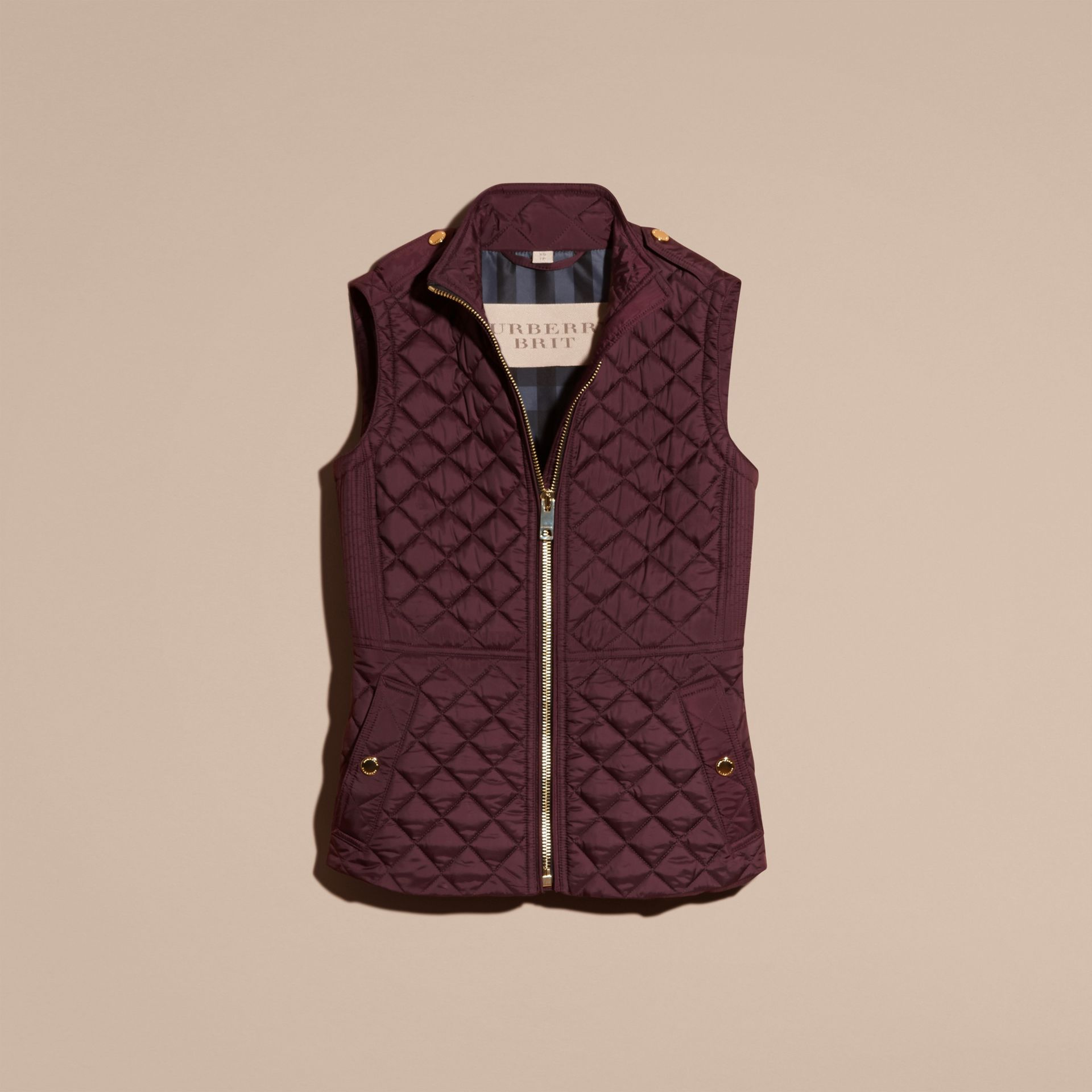 Dark elderberry Diamond Quilted Gilet Dark Elderberry - gallery image 4