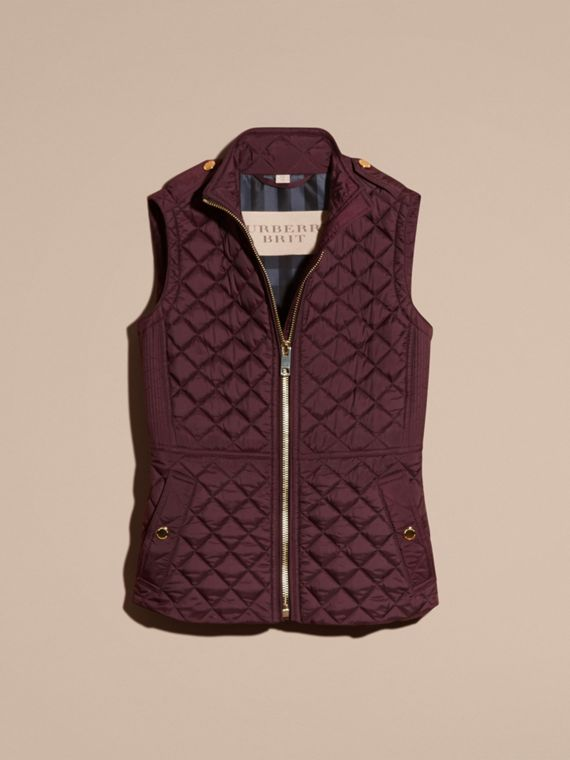 Dark elderberry Diamond Quilted Gilet Dark Elderberry - cell image 3
