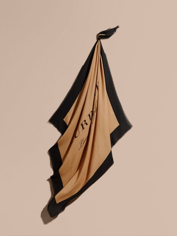 Burberry Print Cashmere Blend Scarf Camel/black