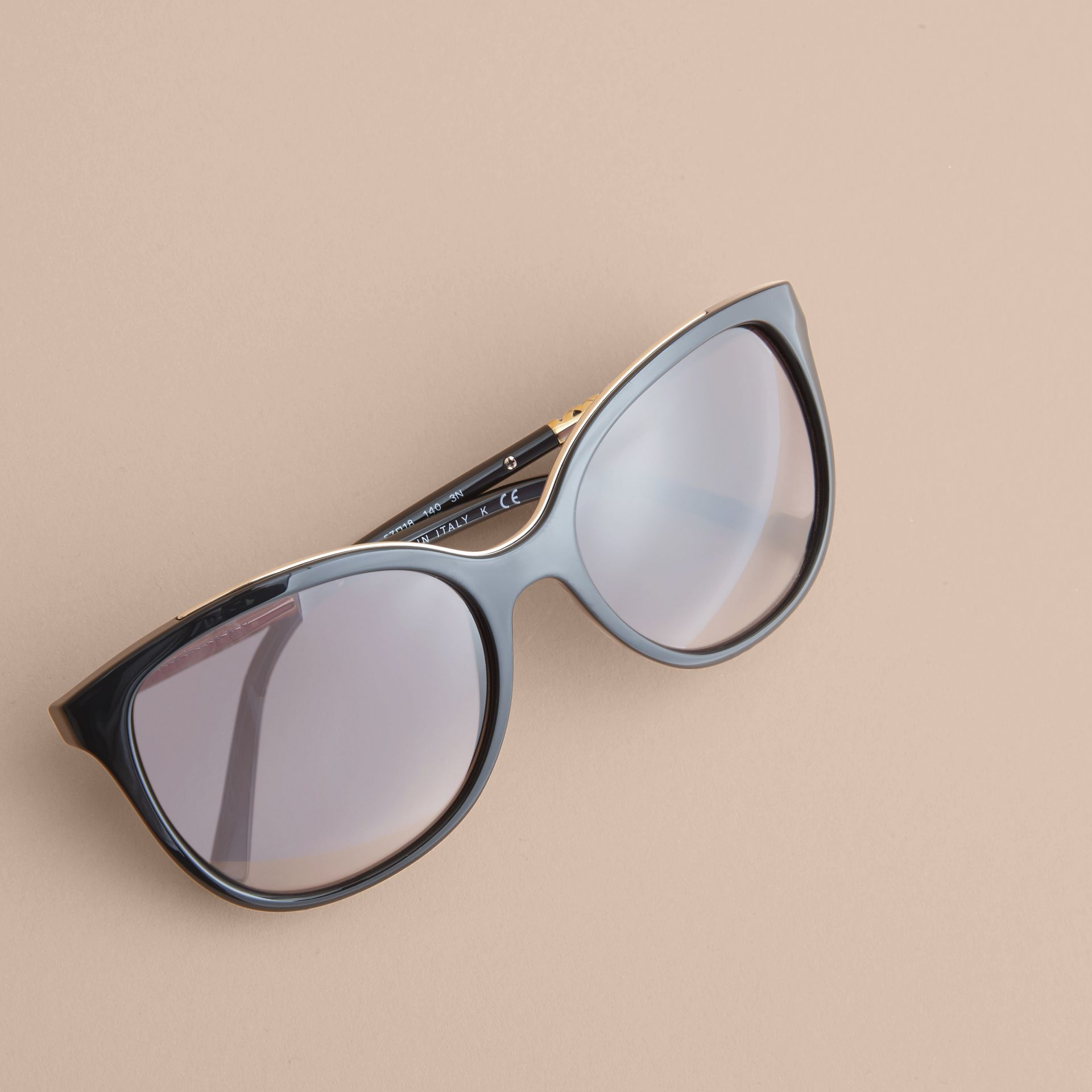 Check Detail Square Frame Sunglasses in Black - Women | Burberry - gallery image 3