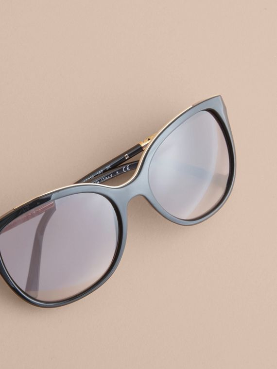 Check Detail Square Frame Sunglasses in Black - Women | Burberry Australia - cell image 2