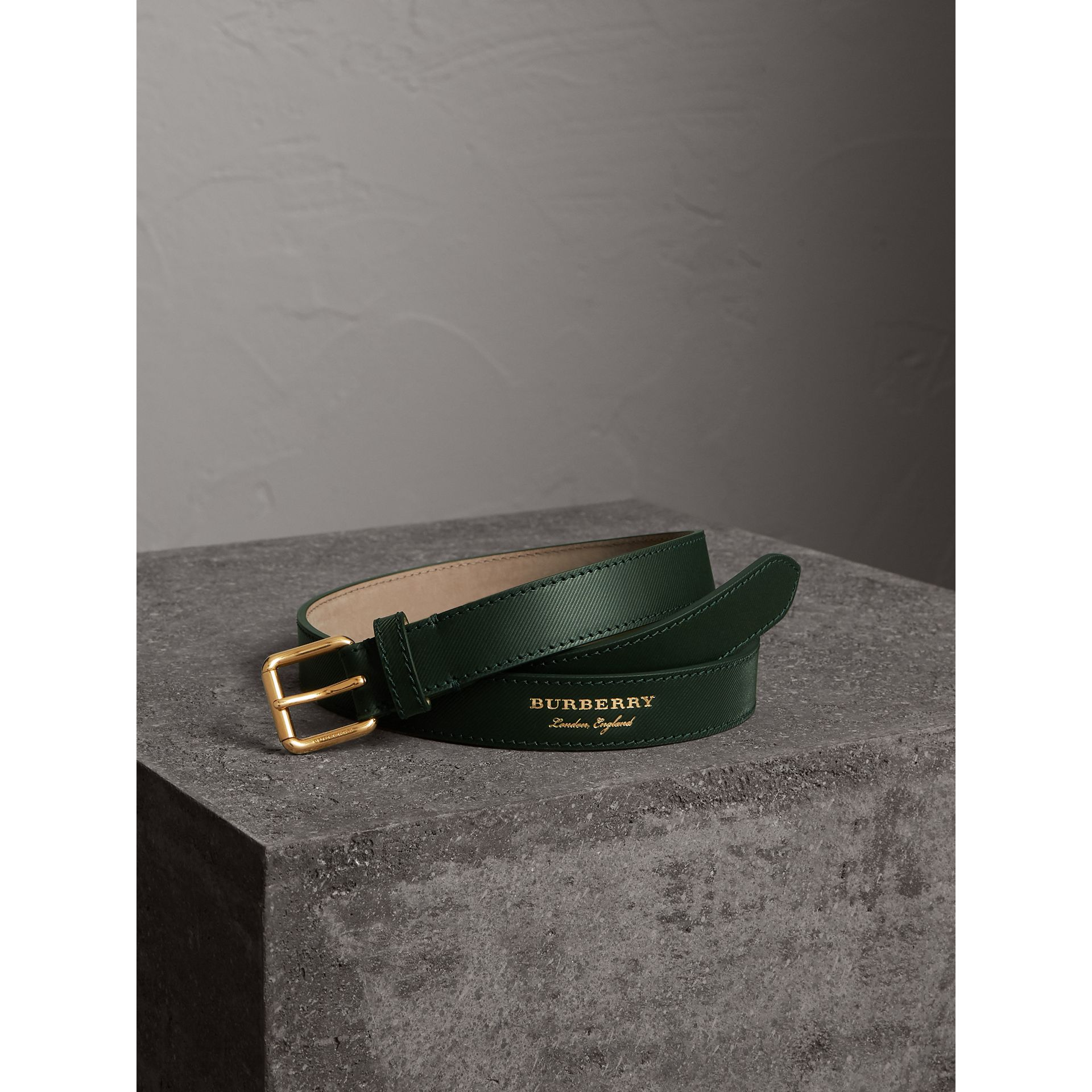 Trench Leather Belt in Dark Forest Green - Men | Burberry - gallery image 1