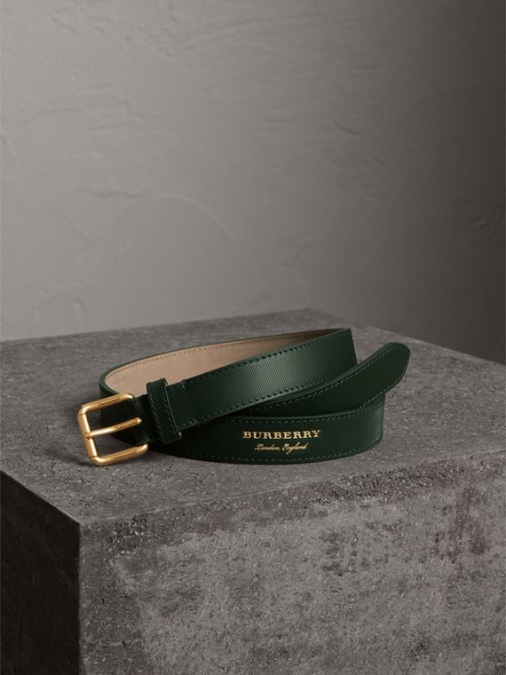 Trench Leather Belt in Dark Forest Green