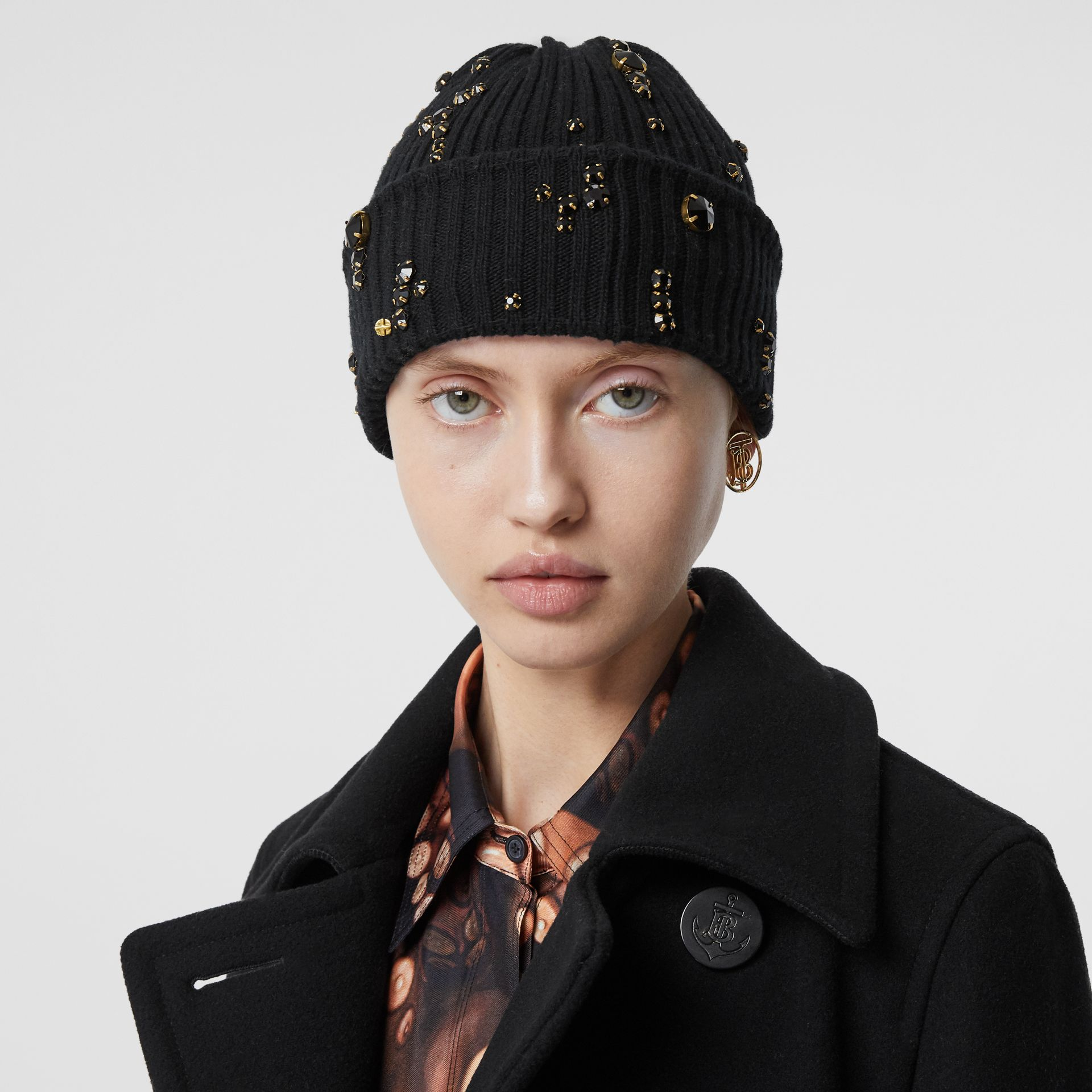 Embellished Rib Knit Wool Beanie in Black | Burberry United Kingdom - gallery image 2