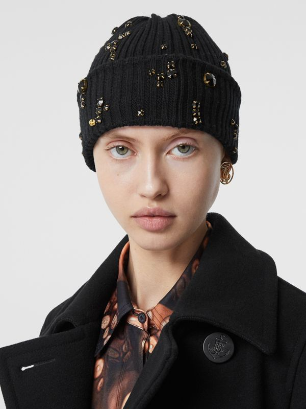 Embellished Rib Knit Wool Beanie in Black | Burberry United Kingdom - cell image 2