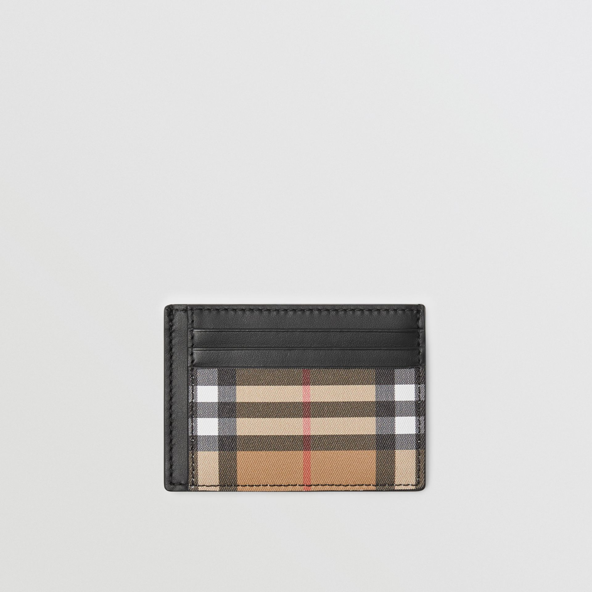 Vintage Check and Leather Money Clip Card Case in Black - Men | Burberry United States - gallery image 0
