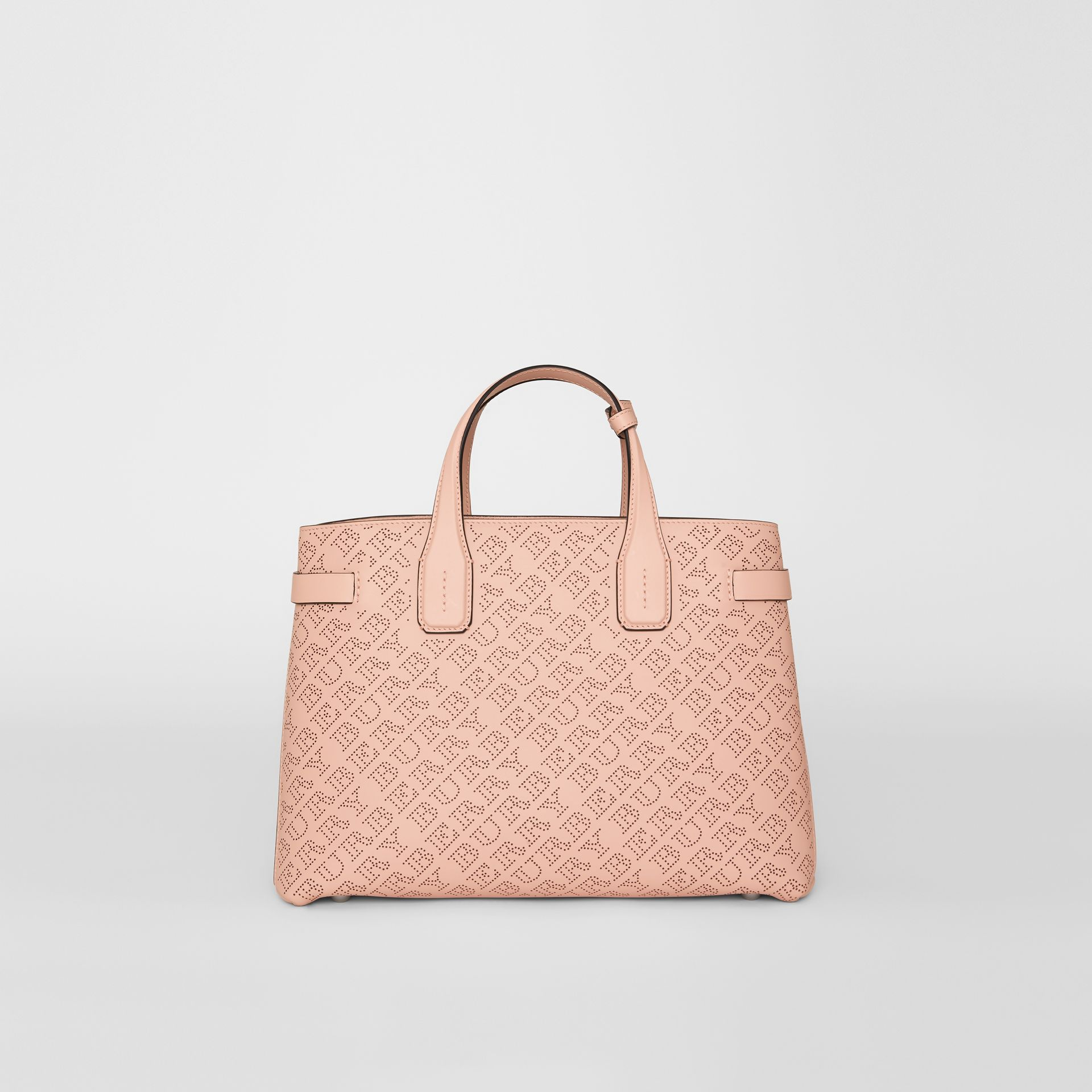 The Medium Banner in Perforated Logo Leather in Pale Fawn Pink - Women | Burberry - gallery image 0