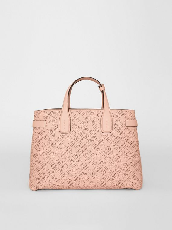 The Medium Banner in Perforated Logo Leather in Pale Fawn Pink