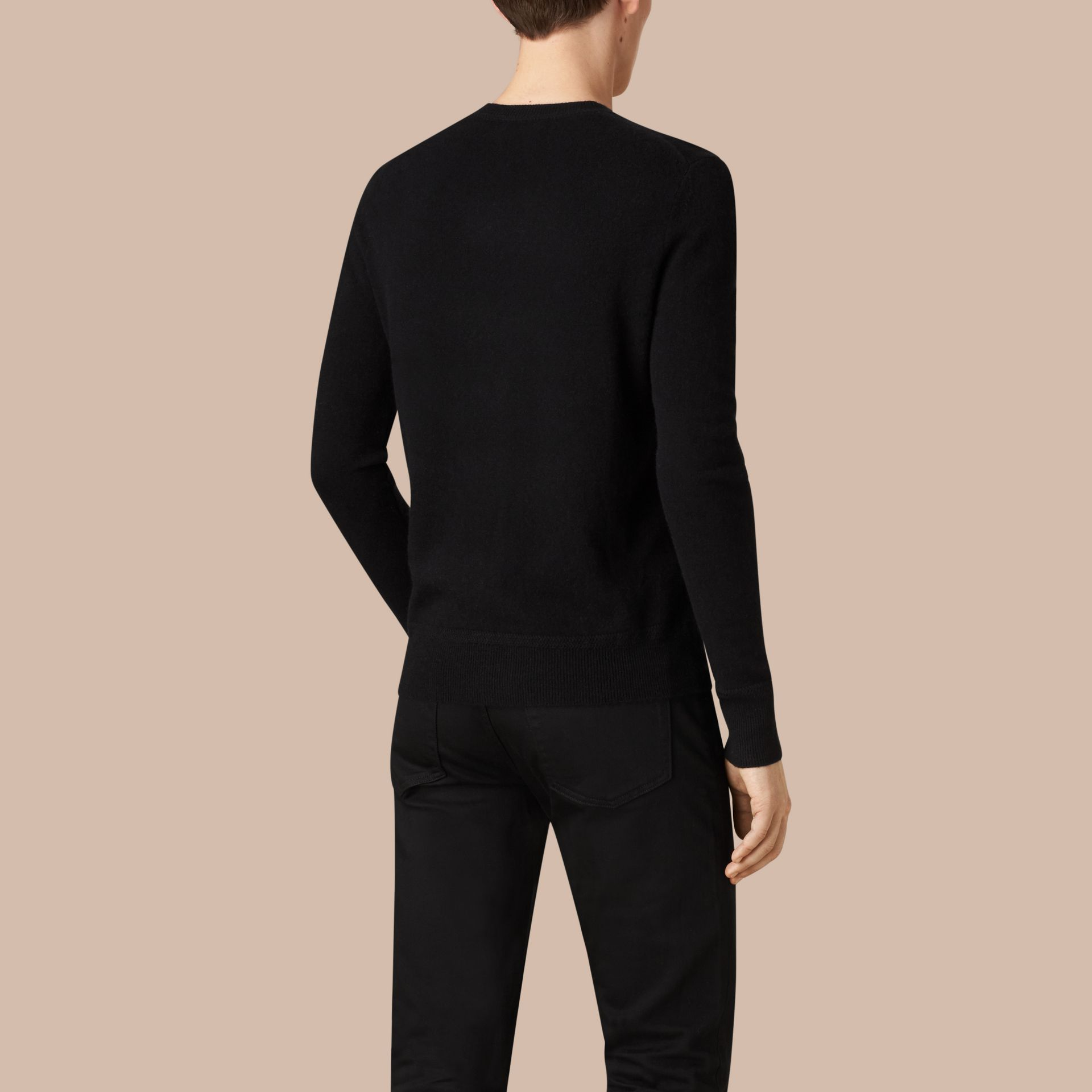 Crew Neck Cashmere Sweater Black - gallery image 4