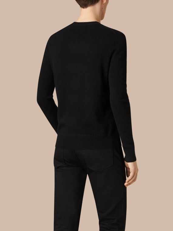 Black Crew Neck Cashmere Sweater Black - cell image 3