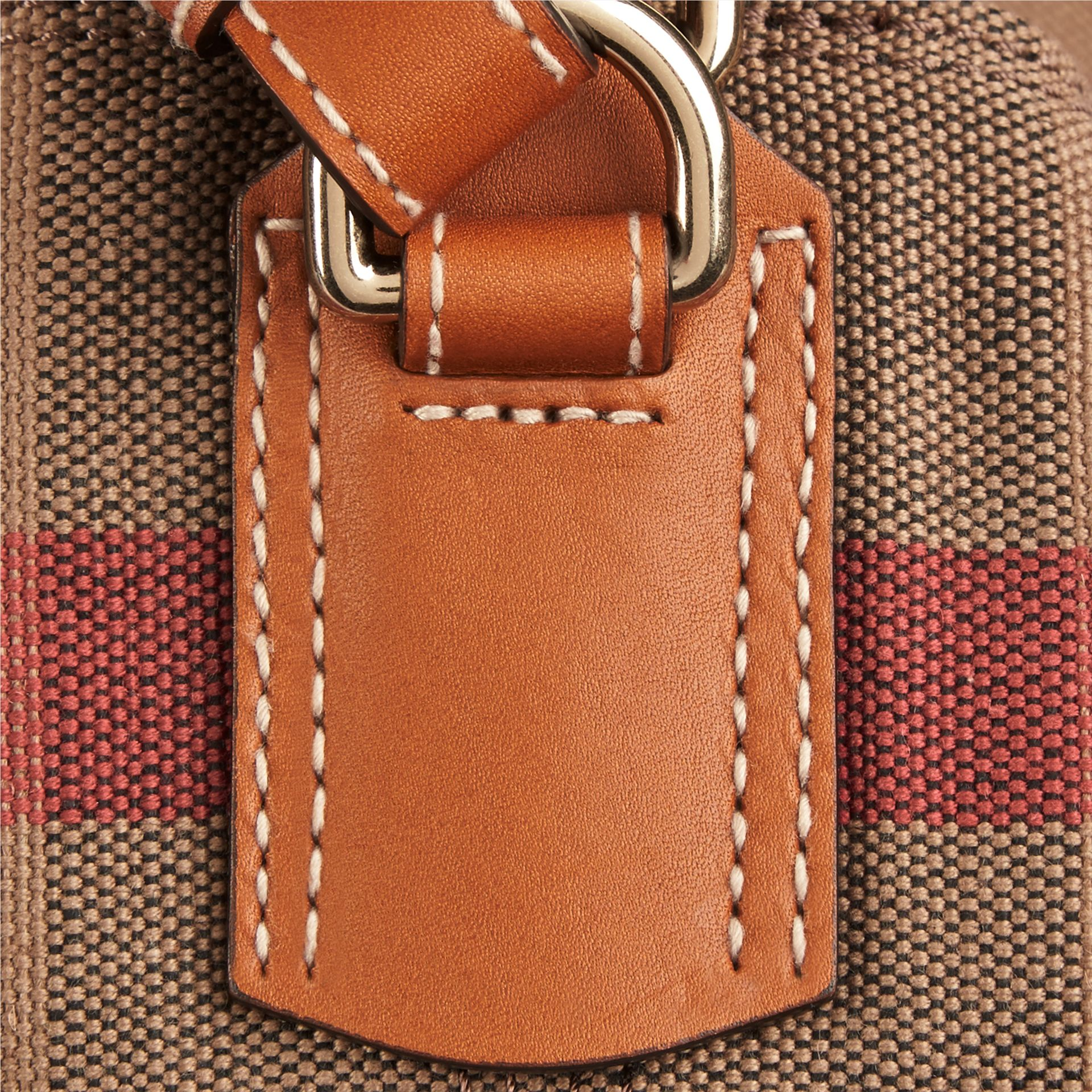 Saddle brown The Medium Ashby in Canvas Check and Leather Saddle Brown - gallery image 5