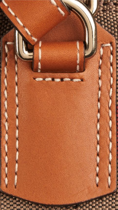 Saddle brown The Medium Ashby in Canvas Check and Leather Saddle Brown - Image 5