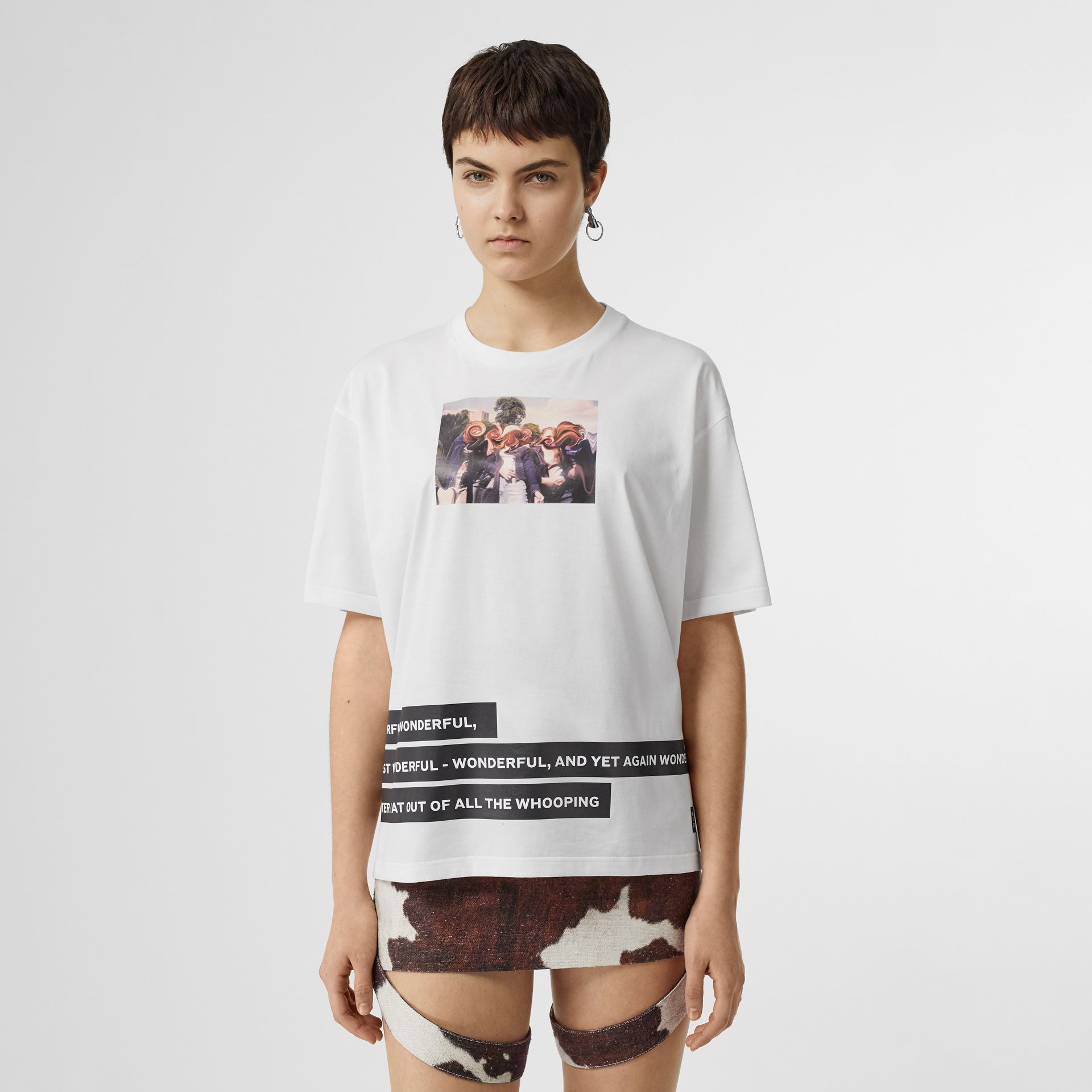 Montage Print Cotton Oversized T-shirt in White - Women | Burberry United Kingdom - gallery image 4