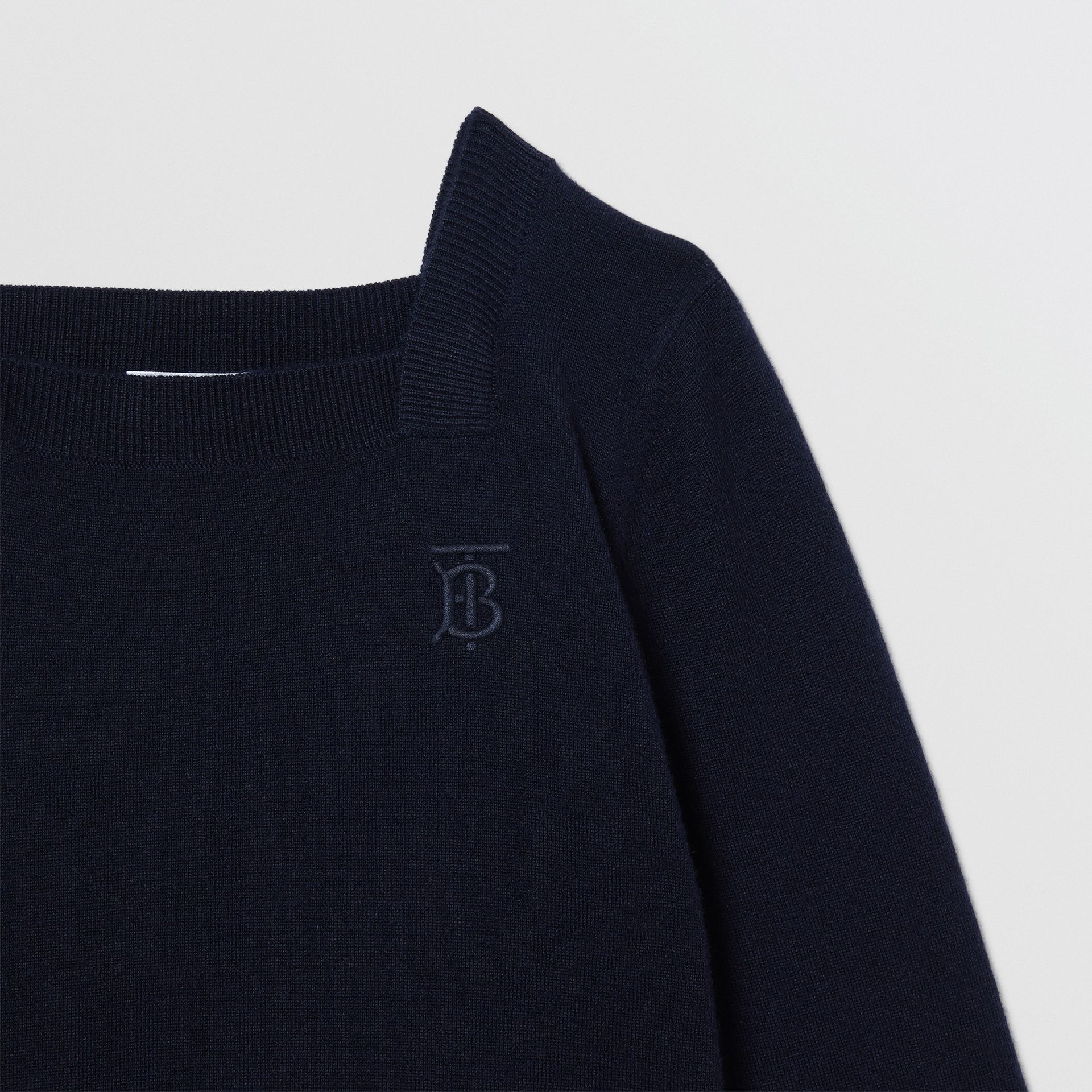 Monogram Motif Cashmere Sweater in Navy | Burberry - gallery image 5