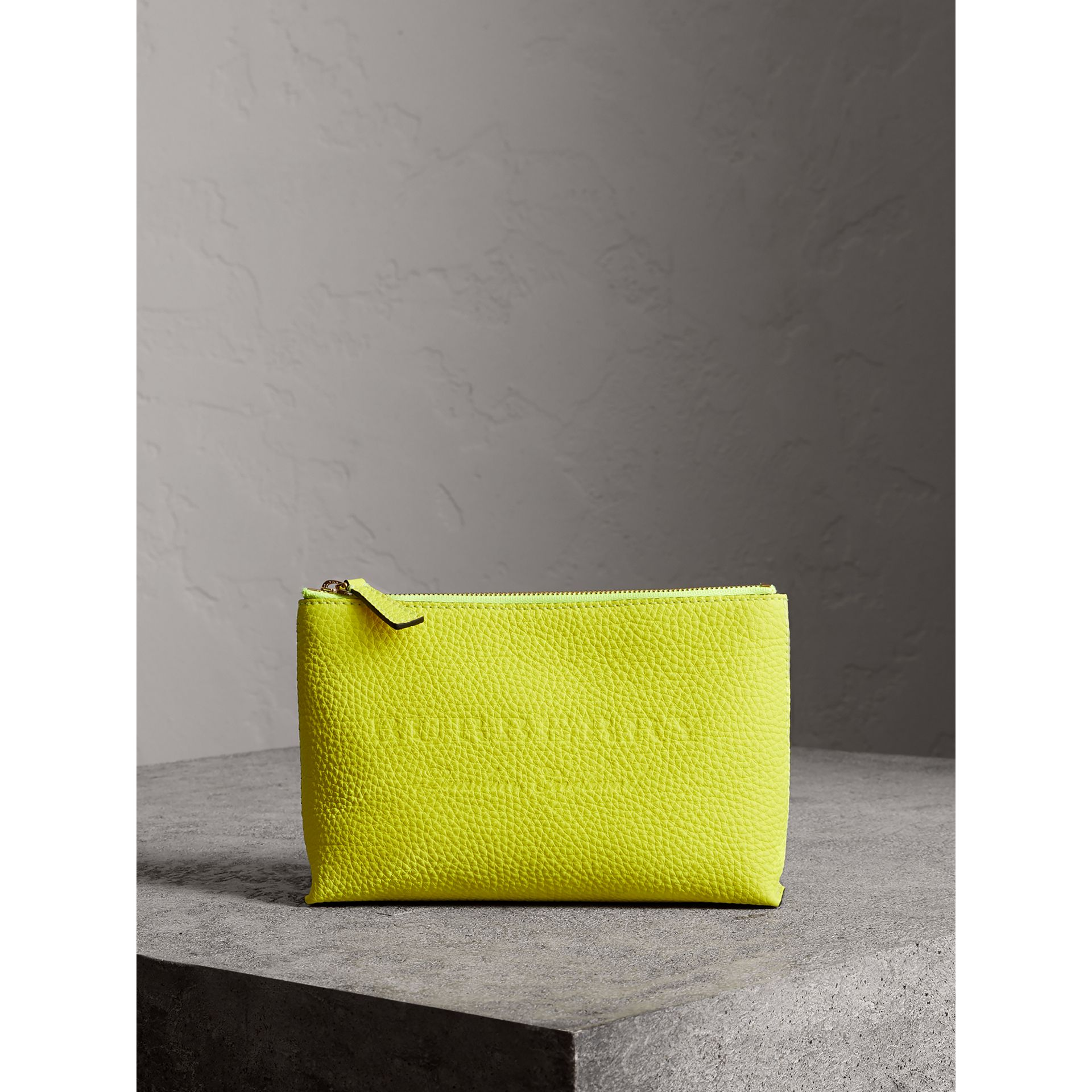 Medium Embossed Leather Zip Pouch in Bright Yellow | Burberry United Kingdom - gallery image 0