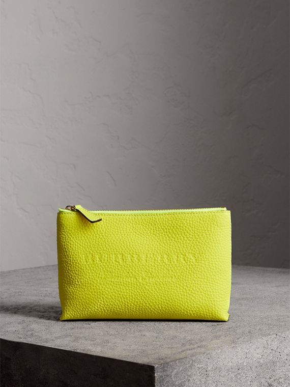 Medium Embossed Leather Zip Pouch in Bright Yellow