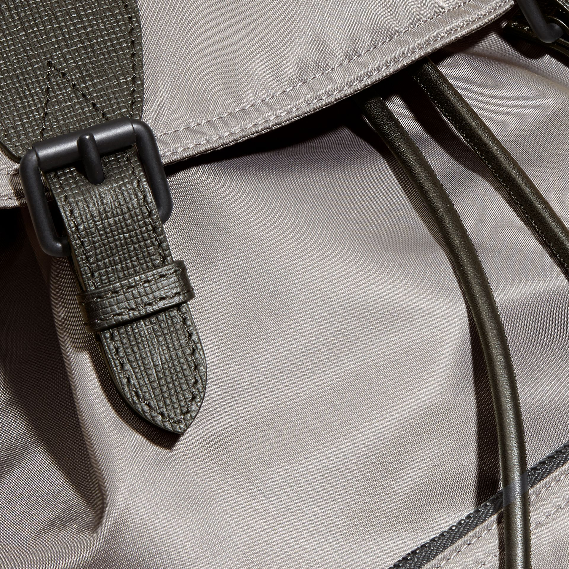 The Large Rucksack in Technical Nylon and Leather Thistle Grey - gallery image 5